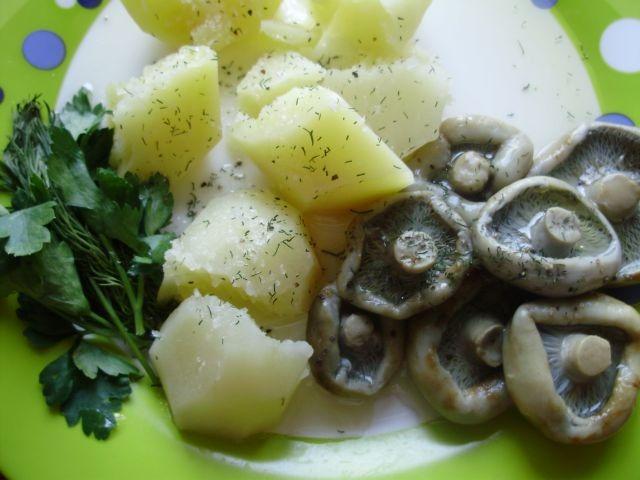 черные грузди с вареной картошкой