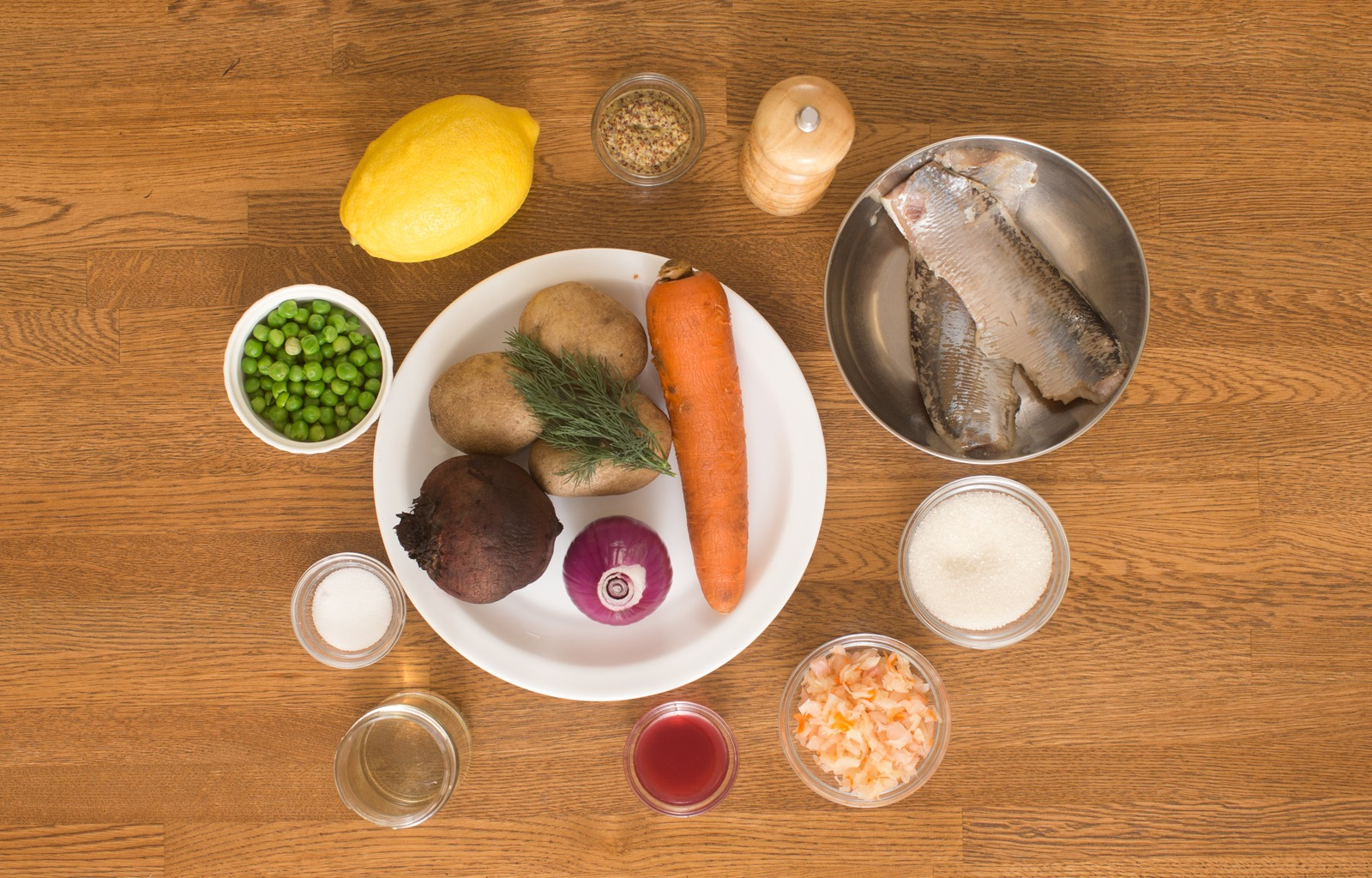 ингредиенты для винегрета с селедкой