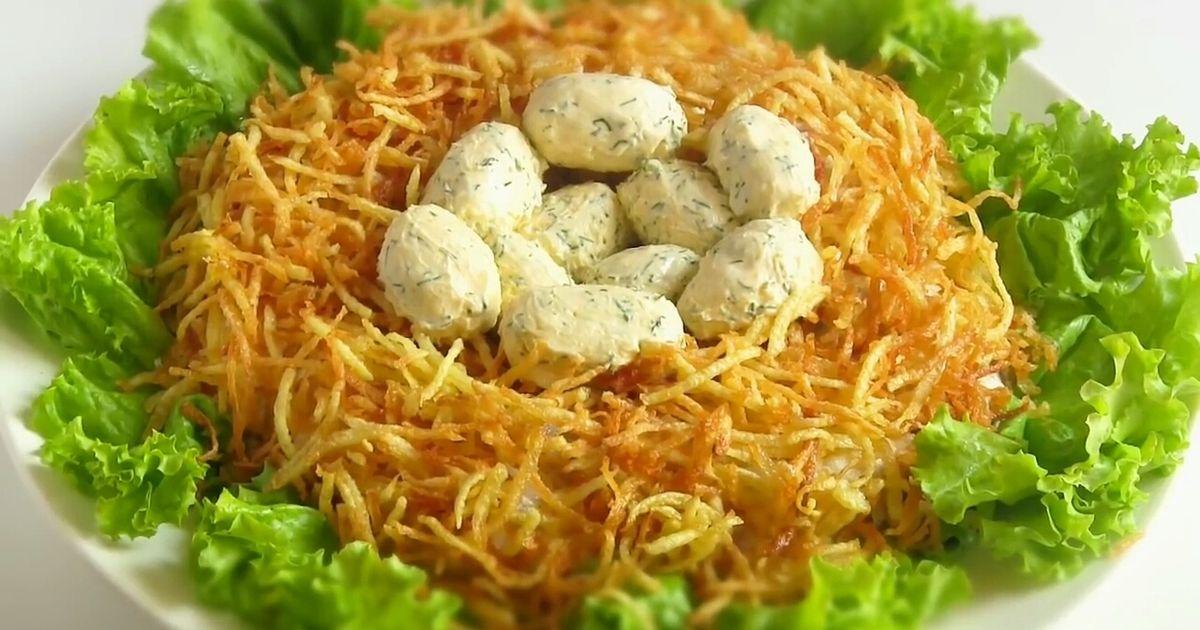 салат гнездо глухаря с грибами и курицей